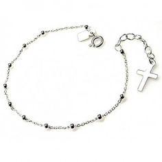 Pulsera de plata de primera ley estilo rosario con bolitas y cruz colgando