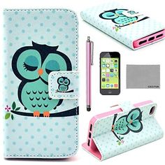COCO+FUN®+Sleeping+Owl+Pattern+PU+Leather+Full+Body+Case+with+Screen+Protector,Stylus+and+Stand+for+iPhone+5C+–+EUR+€+6.99