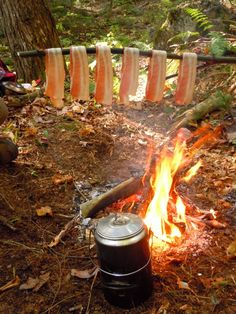 Cooking bacon over a fire! #bushcraft #survival #camping #cooking