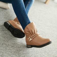 21f06e3207c2 Buckle Women Ankle Boots Wedges Platform Shoes Woman 2016 3393