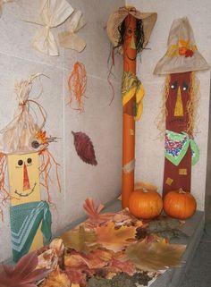 Strašáci do zelí - podzimní výzdoba školy.