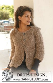 "Free Pattern, DROPS jacket in garter st in ""Puddel"". ~ DROPS Design"