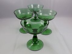 Vintage Champagne Coupe Green Glass Wafer Stem Set Of 4