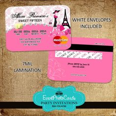 Paris Credit Card  Invitations - Pink