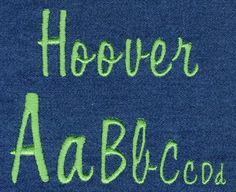 "Hoover Satin Font comes in 0.5"", 1"", 1.5"" and 2"" heights based on the capital ""A"". Characters are finished in Satin stitching. All sizes are included in the purchase price and feature uppercase letters, 8 paws and a claw"