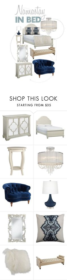 """""""Namastay In Bed"""" by lampsplus ❤ liked on Polyvore featuring interior, interiors, interior design, home, home decor, interior decorating, Vienna Full Spectrum and Jennifer Taylor"""