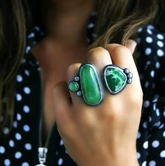 High Above the Jungle Chrysoprase and Variscite Sterling