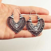 Fashion jewelry vintage silver color hollow heart drop earring