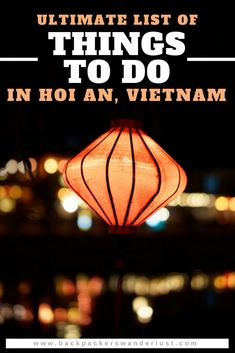 Top Things To Do In Hoi An, Vietnam. Not sure what to do in Hoi An? This is a list of all the best things to do when in Hoi An, Vietnam. From the city, beach, villages and temples ruins you will not run out of activities to do in Hoi An! Make sure to explore the country side and get out of the city when organizing things to do in Hoi An! #hoian #vietnam #southeastasia #asia #travel