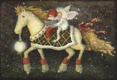 Katja Saario Scandinavian Style, Sofa, Christmas Ornaments, Holiday Decor, Painting, Heaven, Art, Costumes, Elves