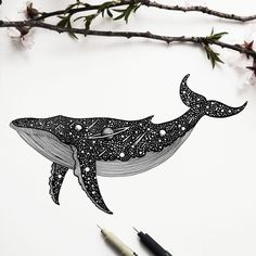"""The sea, once it casts its spell, holds one in its net of wonder forever."" by Jacques Yves Cousteau . Whale Drawing, Whale Sketch, Whale Tattoos, Star Tattoos, Tatoos, Dotted Drawings, Art Drawings, Ink Illustrations, Illustration Art"