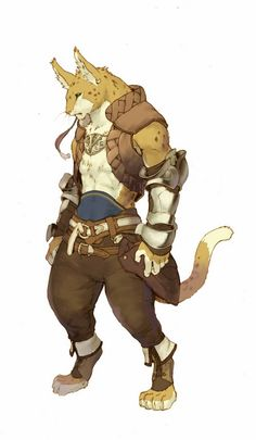 character design illustration of warrior feline
