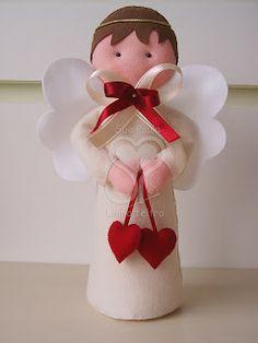 Sue Paula - Linha Feltro: Anjos em feltro para batizado