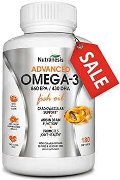 Omega 3 Fish Oil Supplement - Triple Strength EPA 860mg + DHA 430mg Fats - Burpless with Lemon Oil - Easy to Swallow - Mercury Free - Top Joint, Heart and Brain Health Formula