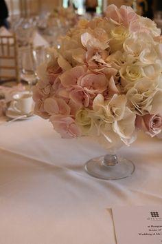 Table Arrangements, Centrepieces, Table Centerpieces, Table Decorations, Bury St Edmunds, Tudor Rose, Low Tables, Hydrangea, Wedding Flowers
