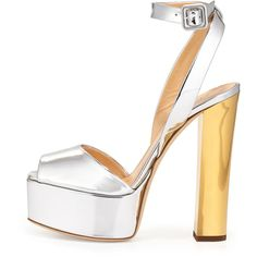 Giuseppe Zanotti Metallic Leather High-Heel Sandal ($850) ❤ liked on Polyvore featuring shoes, sandals, heels, leather sandals, high heel sandals, ankle strap high heel sandals, leather platform sandals and ankle wrap sandals
