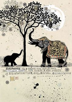 Black Elephants by Jane Crowther. Design for Bug Art greeting cards.