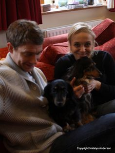 Martin Freeman and Amanda Abbington with their dogs. Cute!