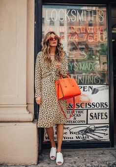 $100 - $500 The Perfect Print This Summer Long Sleeved Leopard Print Midi Dress Teamed With A Bright Orange Leather Handbag And Red Cat Eye Sunglasses Tumblr