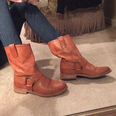 Frye Maxine Shortie Boots Burnt orangey-brown leather Frye boots! Lightly worn, great condition!! Harness detail on outer and inner side. Pull on boots. Size 7.5. Unique color and style!!  Frye Shoes Ankle Boots & Booties