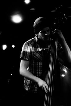 Double Bass, music, live, musician, gig, performance, bokeh, light, black and white, strings, portrait, photography