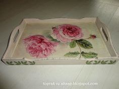 *TOPRAK ve AHŞAP*: vintage güller,ahşap tepsiler,inşallah beğenirler.... Decoupage, Tray, Color, Diy And Crafts, Jewel Box, Trays, Frames, Crates, Wood