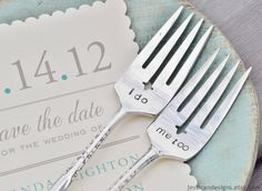 I Do, Me Too - Vintage Wedding Cake Fork Set Personalized with Your Wedding Date by jessicaNdesigns on Etsy. $41.00, via Etsy.