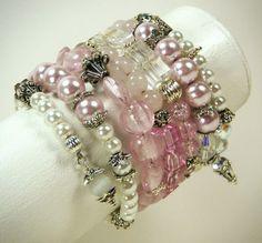 Sale Memory Wire Bracelet /  Pink Memory Wire Cuff by JewelryBySky, $29.00