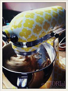 Tori Spelling's custom-made canary yellow monogrammed mixer