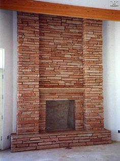 Flagstone Fireplace to cover the brick on the fireplace | for the home | pinterest