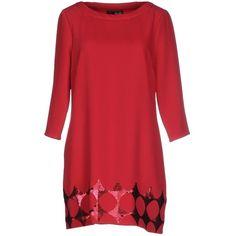 Liu •jo Short Dress ($140) ❤ liked on Polyvore featuring dresses, garnet, short dresses, sequin embellished dress, red dress, 3/4 sleeve dress and red mini dress