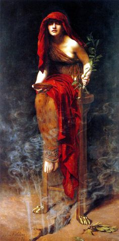 "Priestess of Delphi (1891), by John Collier  ""In the painting, ""Priestess of Delphi"" by The Honorable John Collier, a priestess - the Pythia - is depicted in a trance state, seated over a fissure in the rock through which vapors rise from the underground stream. In her left hand is a sprig of laurel - in Greek mythology, Apollo's sacred tree - and in the other hand a bowl meant to hold some of the water from the stream containing the gases."""