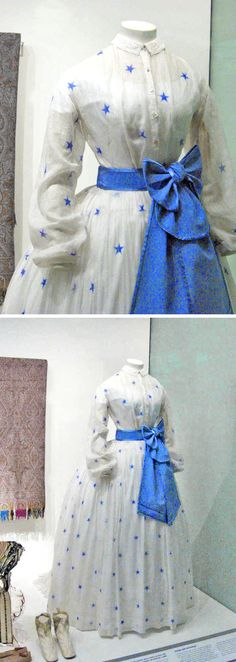 Muslin summer dress, ca. 1864 (with reproduction sash, petticoat and camisole). Made from block-printed muslin. The whole dress is a lightweight one for summer, consisting of a long-sleeved bodice and skirt. Dye tests indicate that the stars may have been printed with ultramarine blue, a pigment based colour used in the 1850s. Museum of London via The Costumer's Manifesto