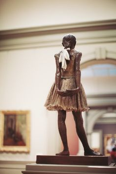 "jamesnord:"" The Little Fourteen-Year-Old Dancer by Edgar Degas. Cast in 1922 from a mixed-media sculpture modeled ca. Bronze, partly tinted, with cotton skirt and satin hair ribbon, on a wooden baseMetropolitan Museum of Art H. Edgar Degas, Philly Art Museum, Degas Little Dancer, Tiny Dancer, Degas Ballerina, Art And Architecture, Art History, Sculpture Art, Amazing Art"
