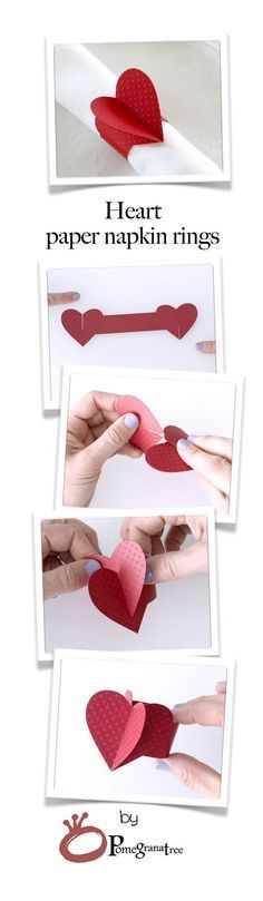 Flamingo Pink Heart Paper Napkin Rings Party Decorations
