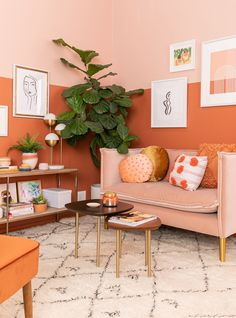 color adventures: an orange-inspired living room! - Oh Joy! color adventures: an orange-inspired liv Orange Rooms, Living Room Orange, Colourful Living Room, Home Living Room, Living Room Designs, Barn Living, Living Room Decor Colors, Orange Walls, Livingroom Color Ideas