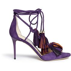 Jimmy Choo 'Mindy 85' tassel charm suede sandals (4.510 BRL) ❤ liked on Polyvore featuring shoes, sandals, purple, braided t strap sandal, tassel sandals, bohemian shoes, bohemian sandals and jimmy choo