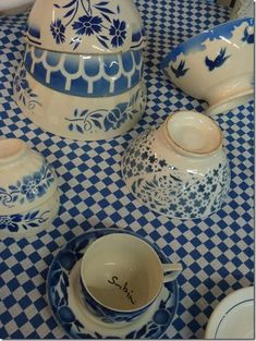lovely blue and white Cafe au lait bowls ....absolutely beautiful.....