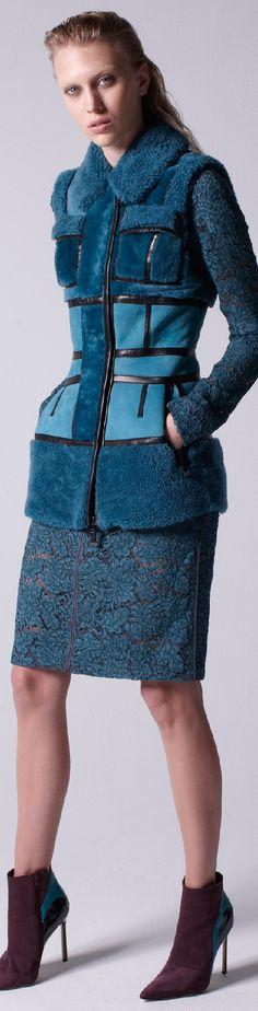 J Mendel Pre-Fall 2015 Dyed Double Faced Shearling Fur Vest Fur Fashion, Winter Fashion, Fashion Show, Fashion Outfits, Womens Fashion, Fashion 2015, Chanel Fashion, Female Fashion, Trend Council