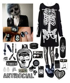 """☠️💀☠️"" by pierce-the-sunflower ❤ liked on Polyvore featuring Alexander McQueen, Effy Jewelry, Manic Panic NYC, Forever 21, ULTA, Stila, Bling Jewelry, Anna Sui, Ardency Inn and LUSASUL"