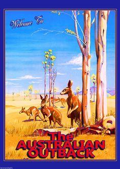 Welcome to The Outback Kangaroo Australia Australian Trvel Advertisement Poster Advertising Pictures, Vintage Advertising Posters, Vintage Travel Posters, Vintage Advertisements, Vintage Ads, Poster City, Poster Ads, Poster Prints, Kangaroo Drawing