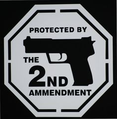 protected by the 2nd ammendment decal. red.