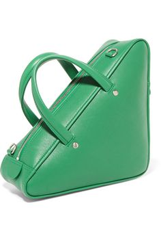 Grass-green and white textured-leather (Calf) Two-way zip fastening along top Designer color: Irish Green Comes with dust bag Weighs approximately Made in Italy Balenciaga Coat, Green Texture, Ski Boots, Green Leather, Calves, Dust Bag, Shoulder Strap, Handbags, Totes