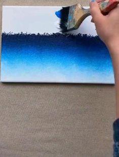 Easy Canvas Art, Small Canvas Art, Easy Canvas Painting, Art Painting Gallery, Art Gallery, Canvas Painting Tutorials, Art Drawings Sketches Simple, Sea Art, Acrylic Art
