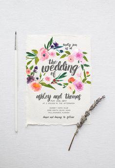 Watercolor Boho Wedding Invitation Suite DEPOSIT - DIY, Rustic, Chic, Garden, Calligraphy, Invite Kit, Printable (Wedding Design #73)