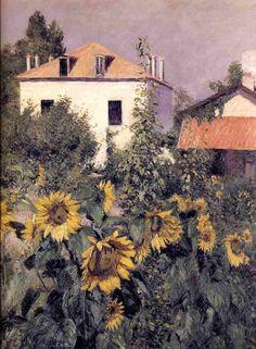 Tournesols, jardin à Gennevilliers Petit, huile sur toile de Gustave Caillebotte (1848-1894, France)