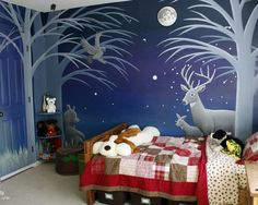 forest mural bedroom, by Brittany (aka Pretty Handy Girl, prettyhandygirl.com)