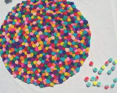 Colourful pompom rug by pompomfairy on Etsy Pom Pom Rug, Sprinkles, Things To Think About, Rainbow, Colours, Candy, Etsy, Rugs, How To Make