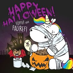 Happy Halloween ❣ Pummel and his friends celebrate tonight in Glitternight with Zonbi and Boo 💚 What are you up to today? Halloween Humor, Halloween Poster, Halloween Signs, Scary Halloween, Vintage Halloween, Happy Halloween Banner, Happy Halloween Video, Halloween Illustration, Halloween Drawings