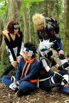 Team Minato cosplay with Rin, Obito, and Kakashi. #naruto